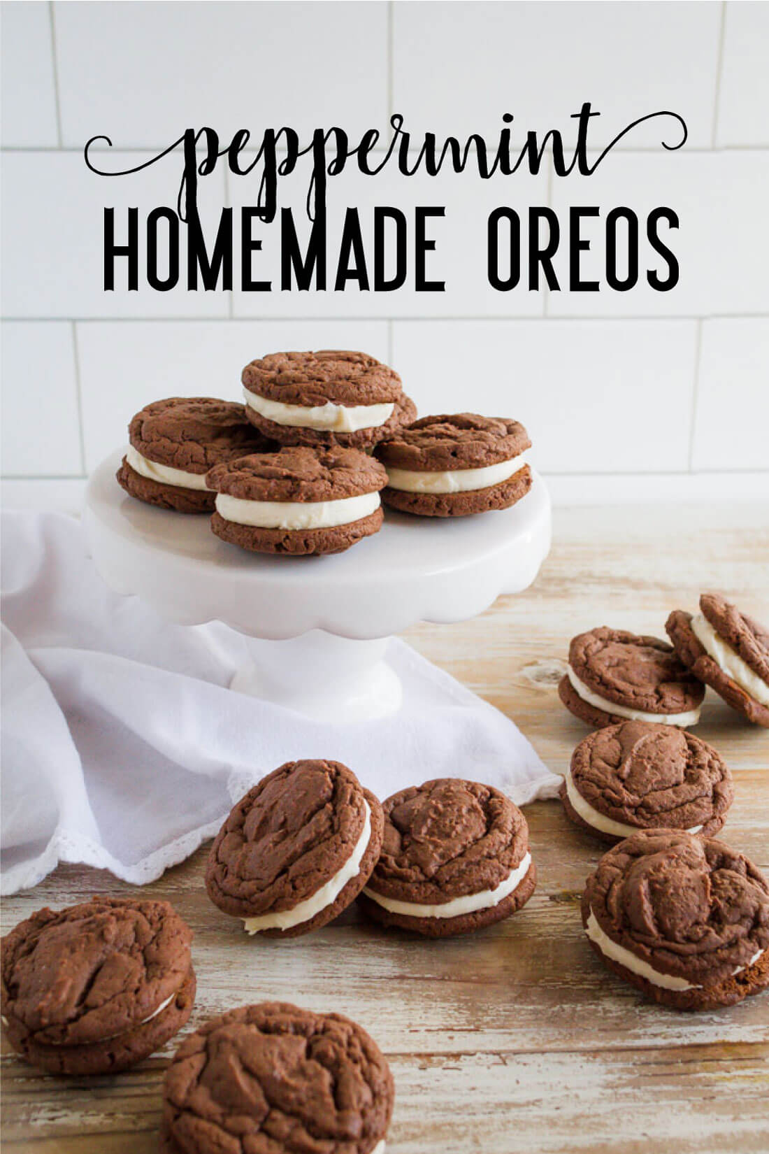 Peppermint Homemade Oreos - the perfect holiday treat recipe. www.thirtyhandmadedays.com