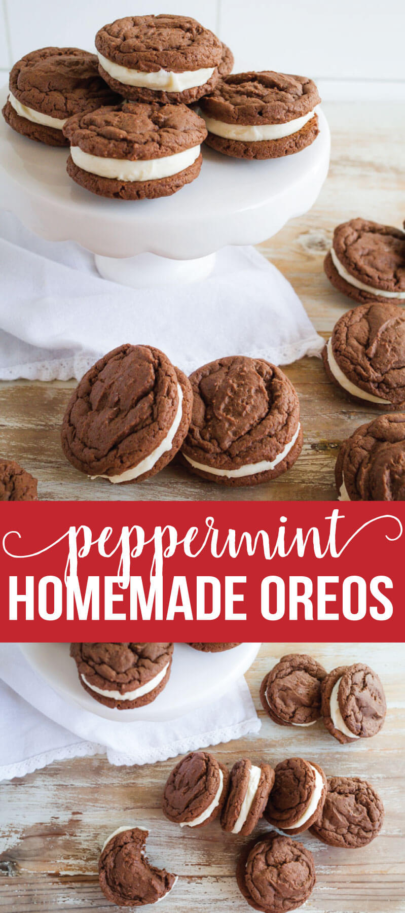 Peppermint Homemade Oreos - the perfect holiday treat recipe from www.thirtyhandmadedays.com