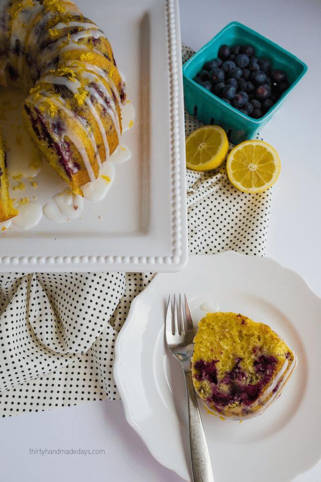 The best ever Lemon Blueberry Bundt Cake - perfect treat for Spring! from thirtyhandmadedays.com