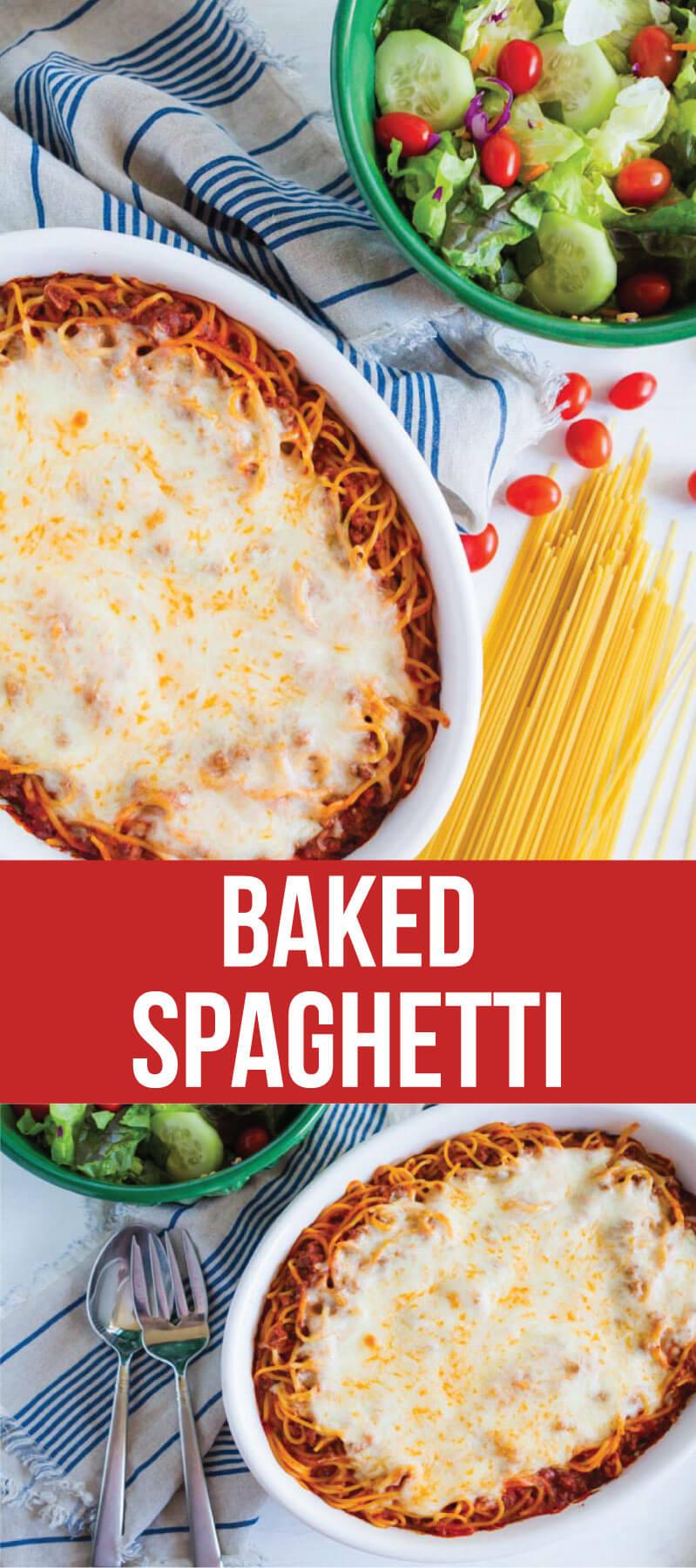 Baked Spaghetti - a family favorite dinner and the best way to eat spaghetti! thirtyhandmadedays.com