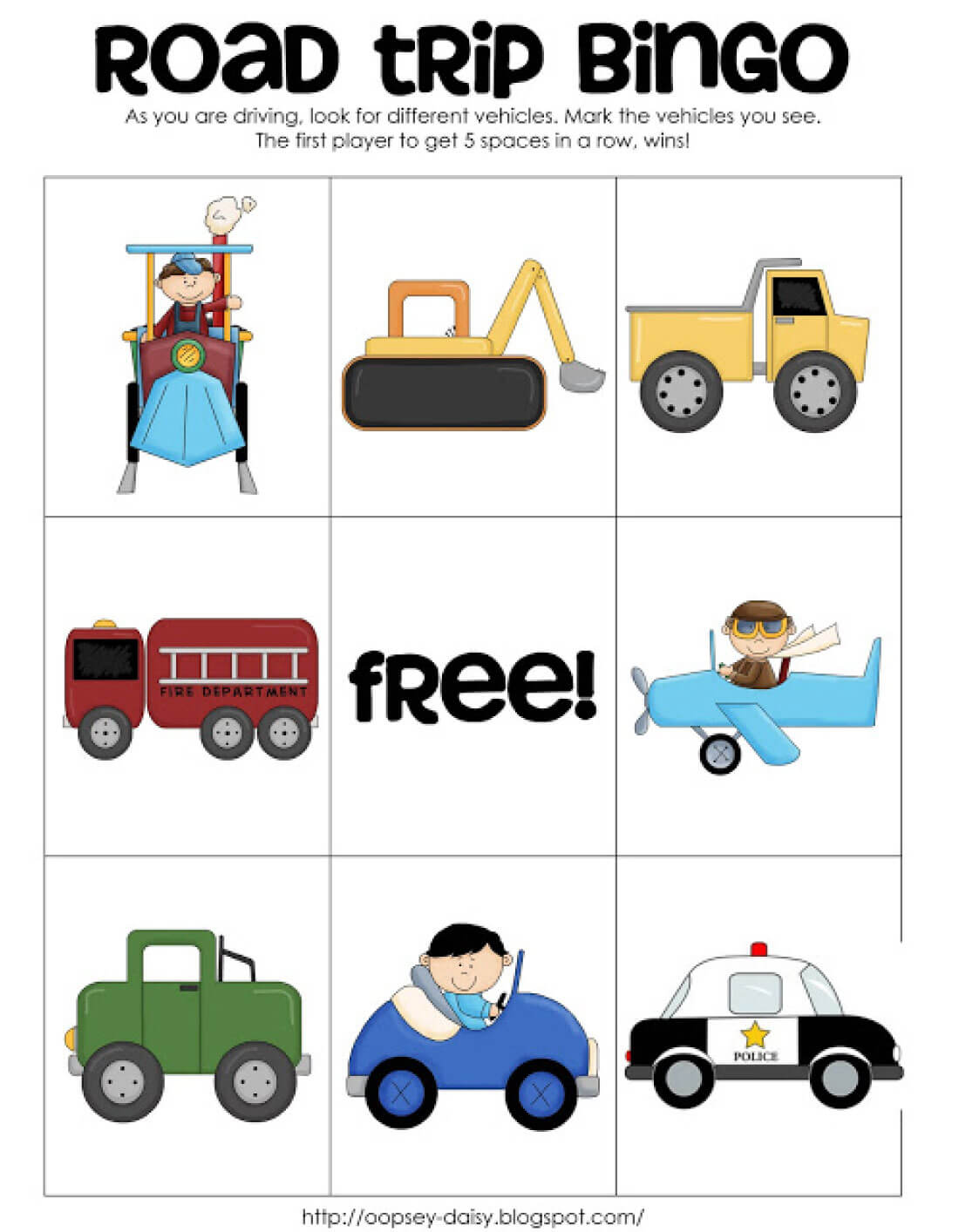 Printable Road Trip BINGO vehicles