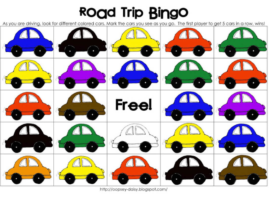 Printable Road Trip BINGO car matching