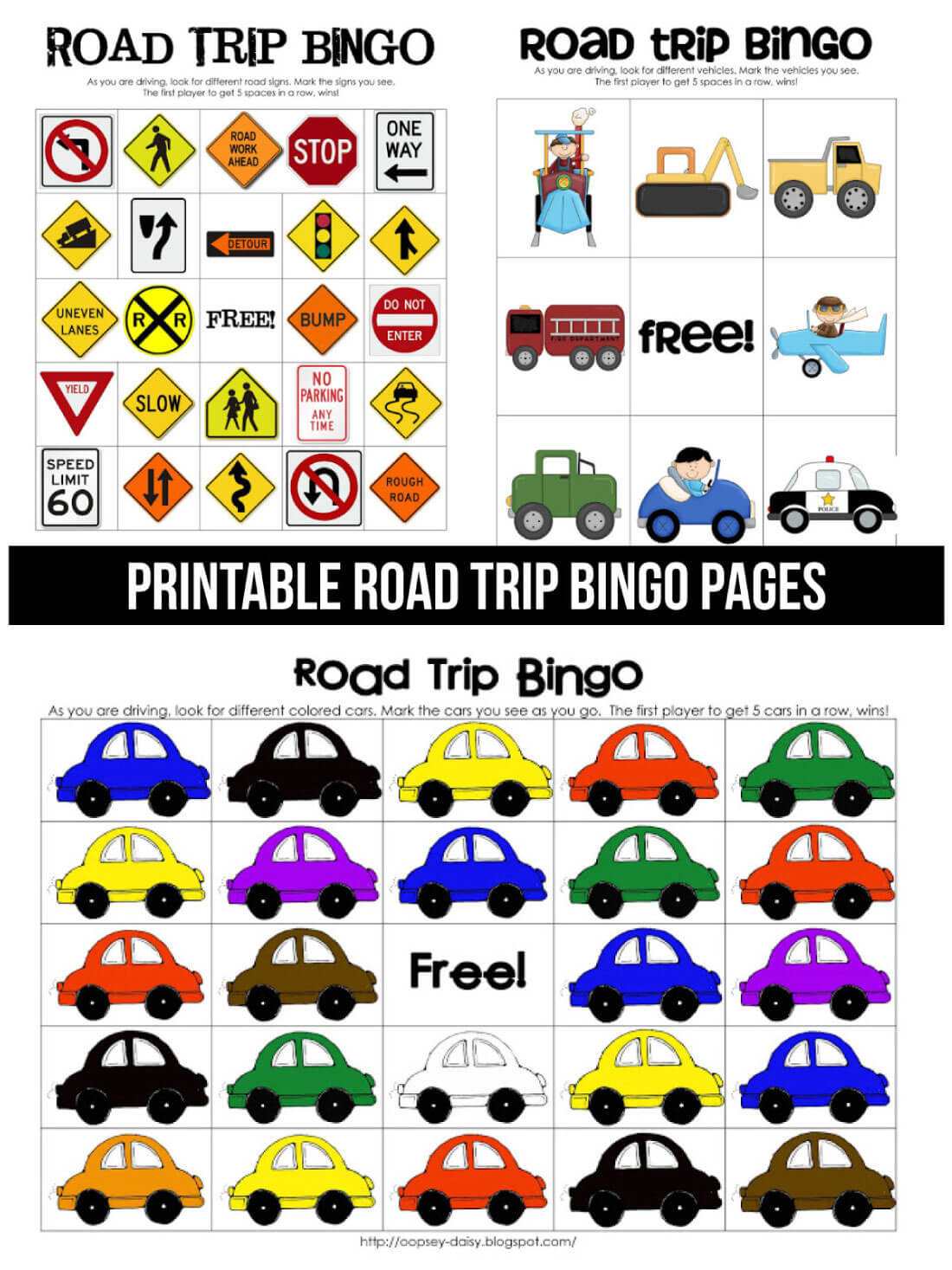 Printable Road Trip BINGO pages via www.thirtyhandmadedays.com