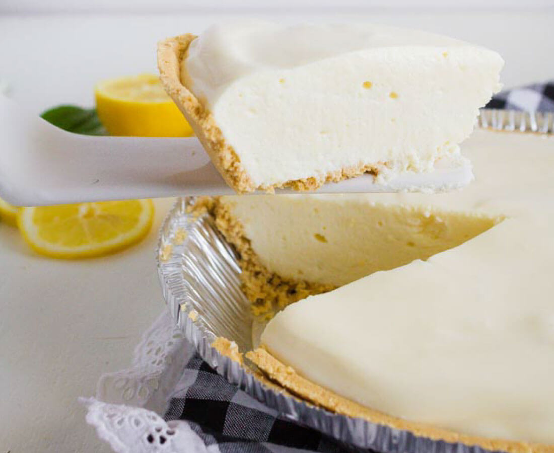 Refrigerator Lemon Pie - the perfect dessert for a summer's day. Piece cut out.