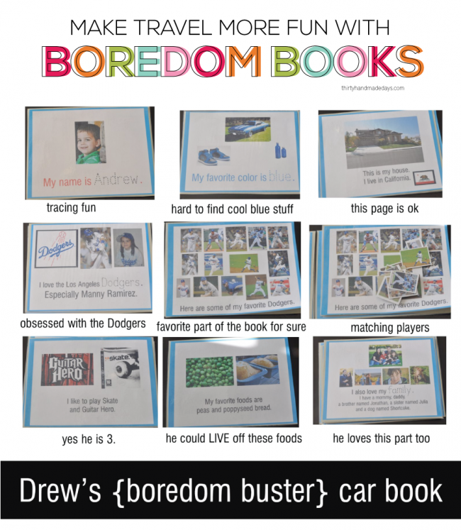 Fun idea for summer travel (or travel anytime) to keep kids entertained: Boredom Books! | Thirty Handmade Days