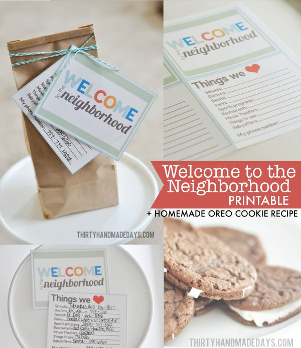 Welcome to the Neighborhood #Printable Kit + Homemade Oreo Cookie Recipe. Share your favorites with a new neighbor!
