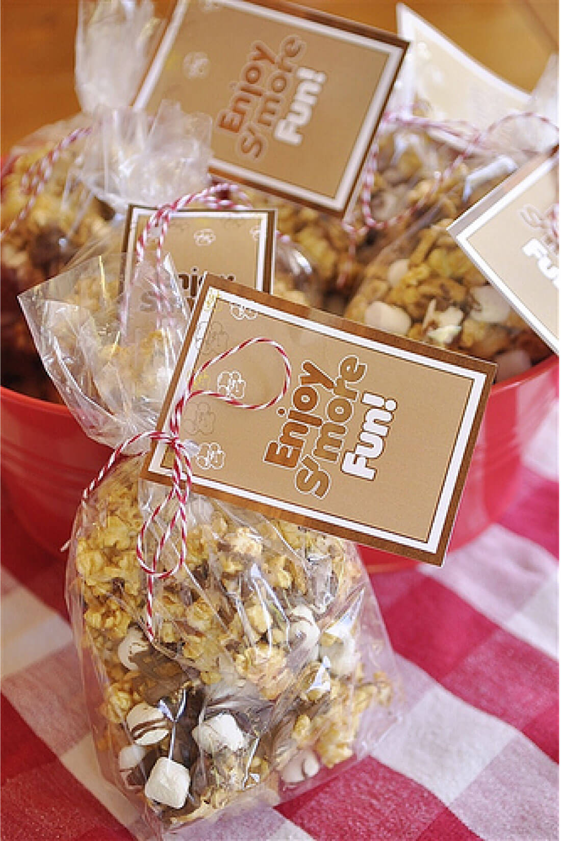 Take traditional Caramel Popcorn to the next level with this S'mores version with cute printable tags.