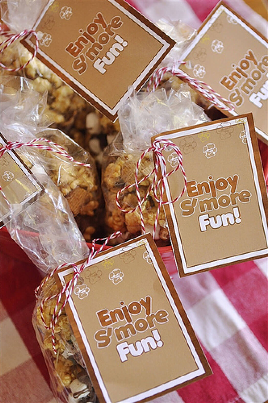 Take traditional Caramel Popcorn to the next level with this S'mores version with cute printable tags. www.thirtyhandmadedays.com
