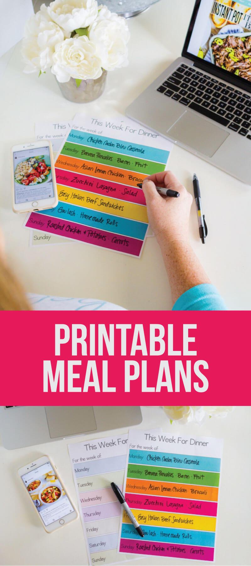 Printable Meal Planning Template - download this simple dinner planner via www.thirtyhandmadedays.com
