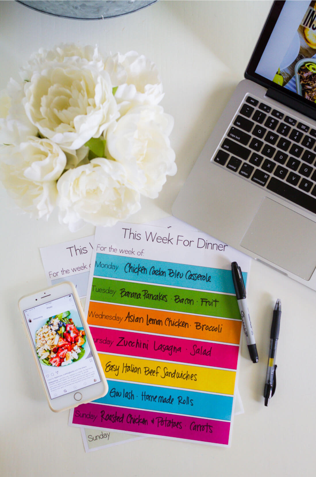 Printable Meal Planning Template - download this simple dinner planner from www.thirtyhandmadedays.com