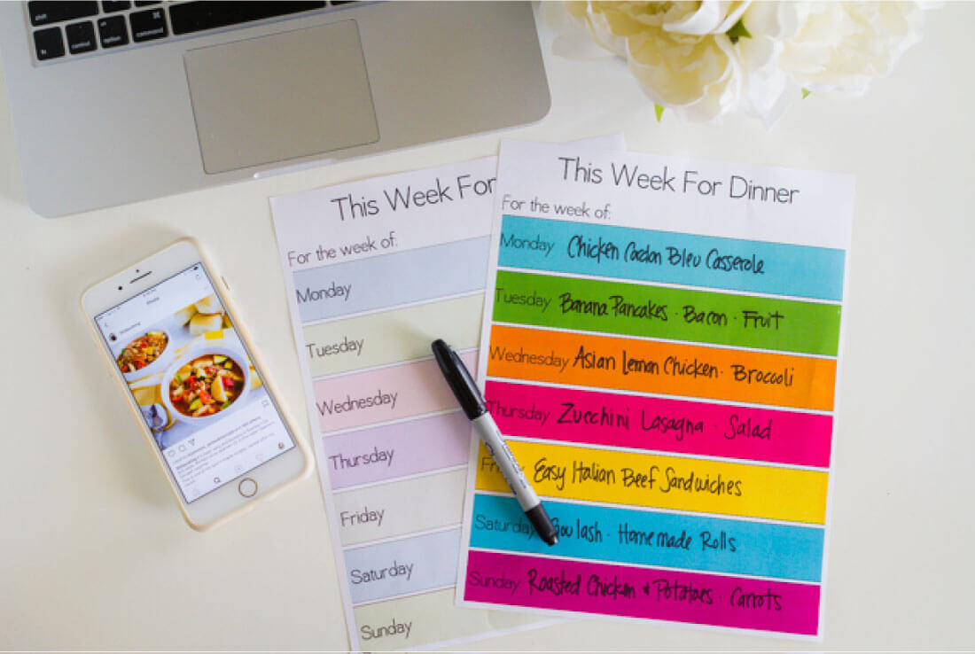 Printable Meal Planner Template - download this simple dinner planner from thirtyhandmadedays.com