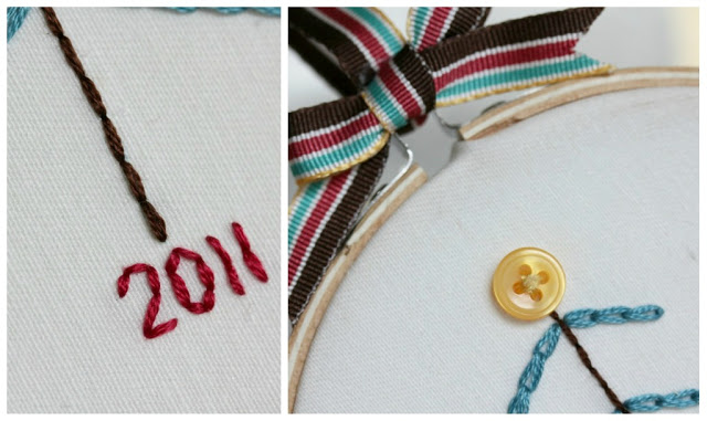 Learn to chain stitch - make this cute Christmas ornament. Finished up via www.thirtyhandmadedays.com
