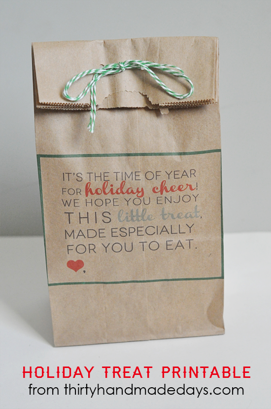 Printable holiday treat bags from www.thirtyhandmadedays.com