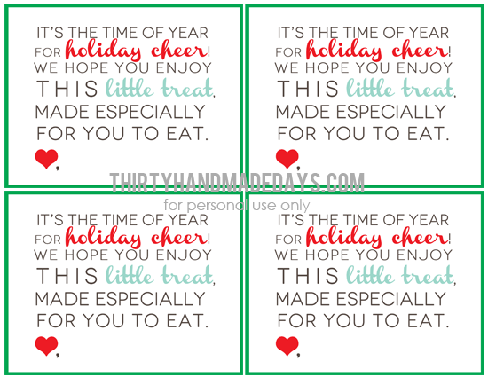 Printable holiday treat bags www.thirtyhandmadedays.com