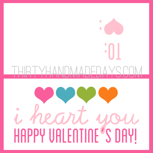 I heart you Valentine's printable