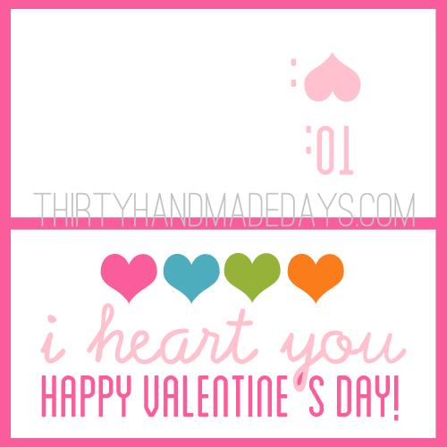 I heart you Valentine's printable