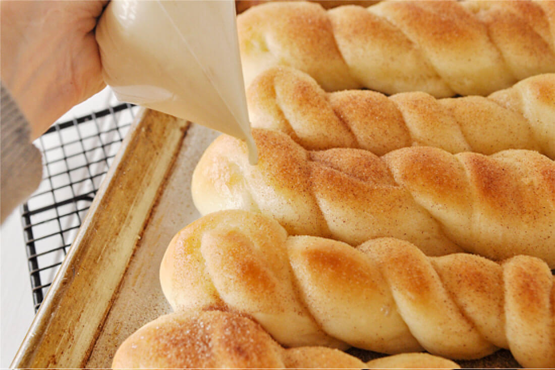 Cinnamon Sugar Breadsticks with Cream Cheese Frosting -step 11, drizzle cream cheese frosting