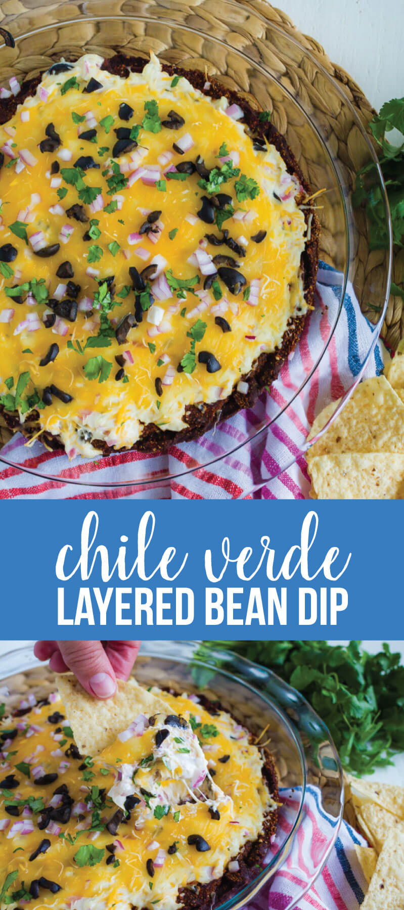 Chile Verde Layered Bean Dip - this bean dip recipe isn't your typical one.  It has a little kick and a whole lot of flavor. www.thirtyhandmadedays.com