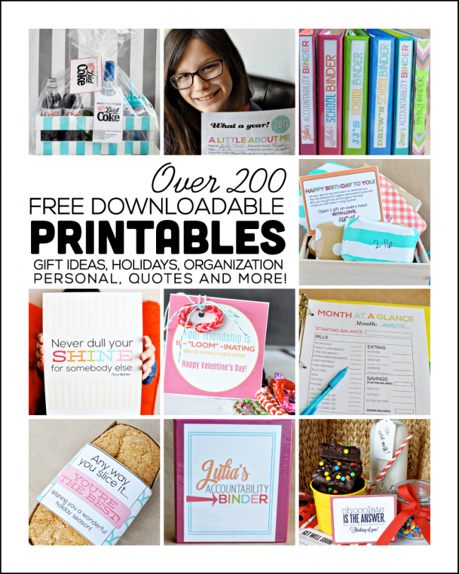 Over 200 Free Downloadable Printables -- for gifts, personal, quotes, organization and more. Something for everyone! Thirty Handmade Days