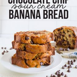 Chocolate Chip Sour Cream Banana Bread - with this secret ingredient, you'll want to make this again and again! www.thirtyhandmadedays.com