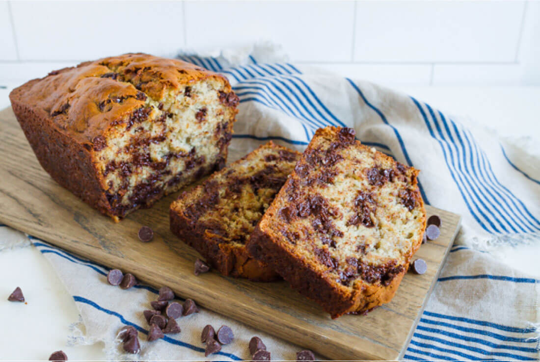 Sour Cream Banana Bread With Chocolate Chips