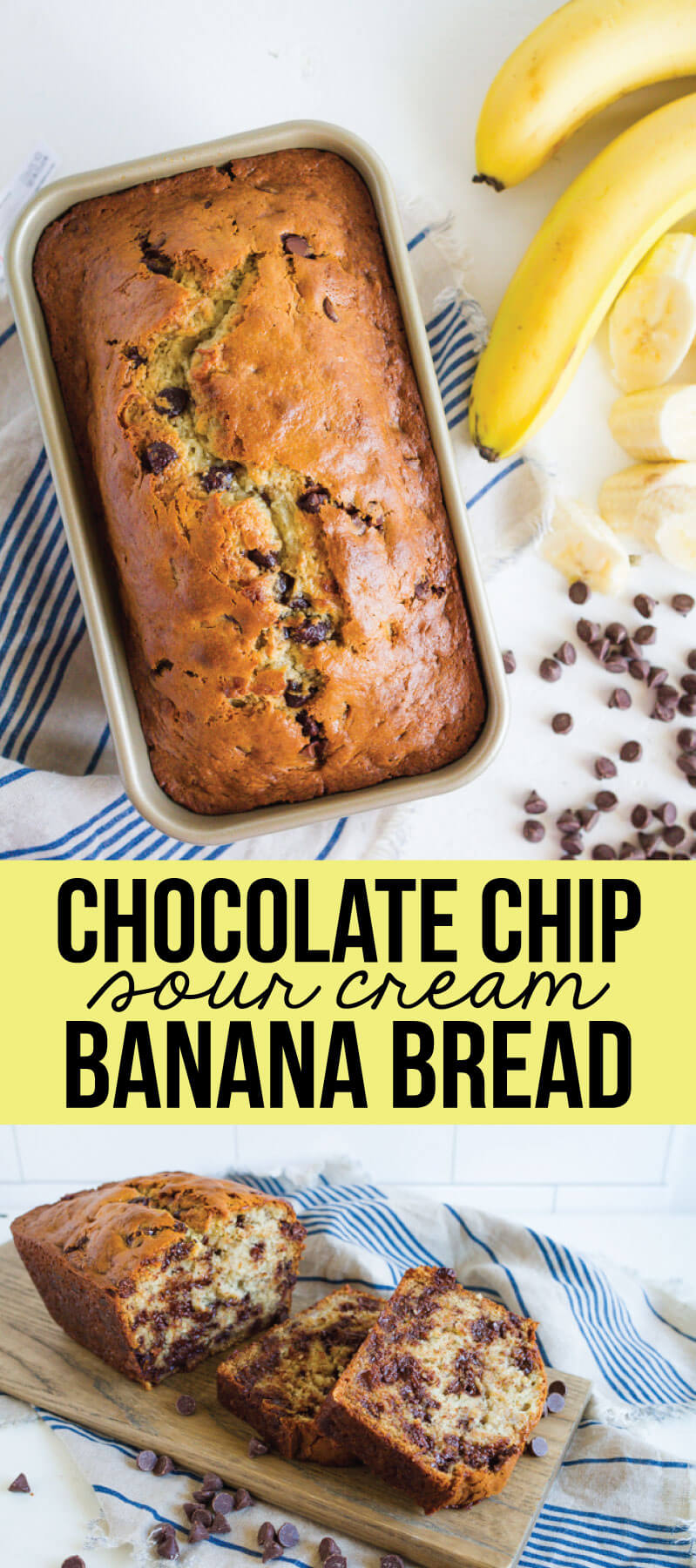Chocolate Chip Sour Cream Banana Bread - with this secret ingredient, you'll want to make this banana bread recipe again and again! from www.thirtyhandmadedays.com