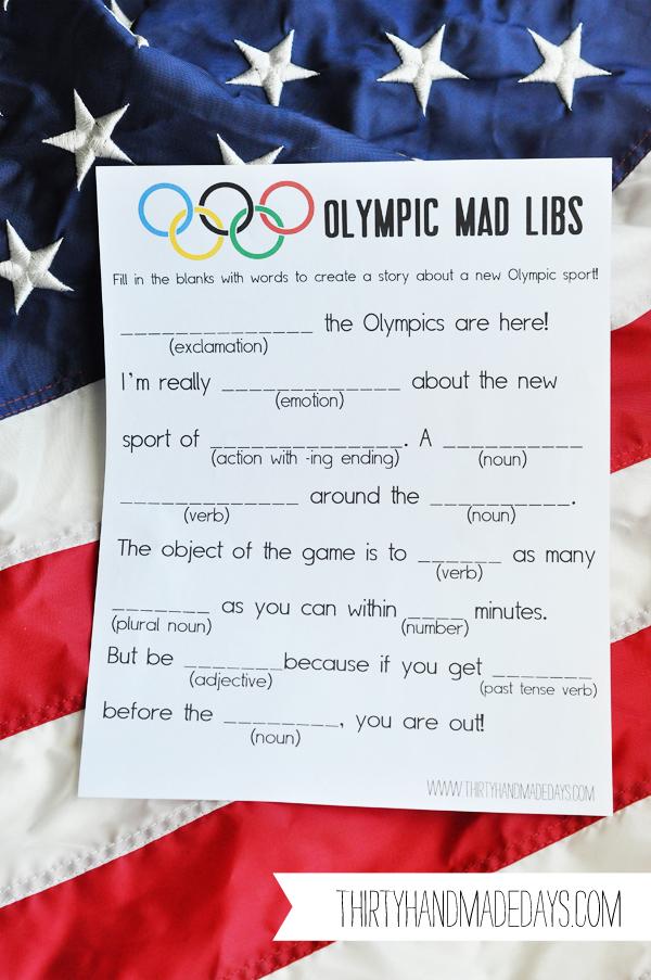 Olympic Mad Libs with Thirty Handmade Days {Fun in the Sun} - Kiki ...