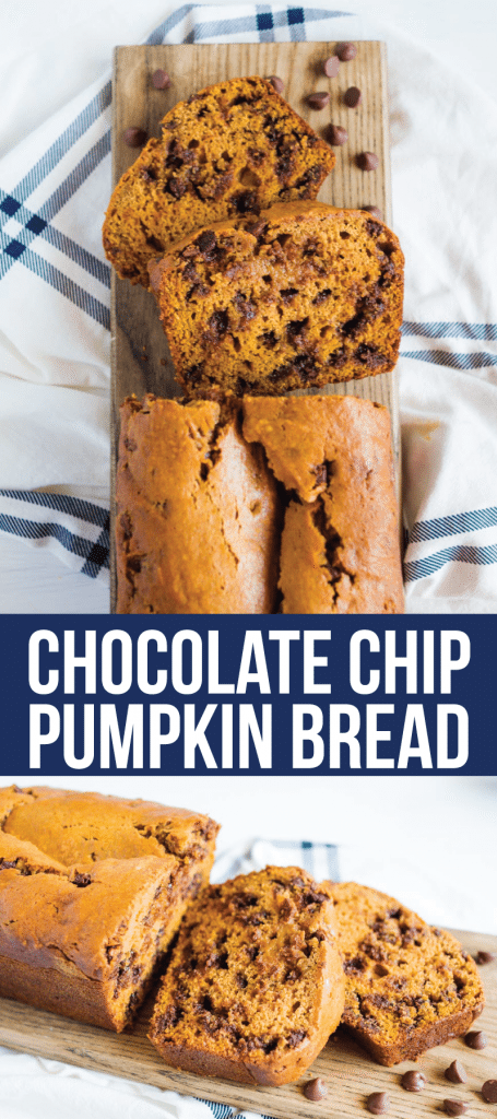 Chocolate Chip Pumpkin Bread - try this amazing quick bread. It's so easy to make and delicious! You will love it. via www.thirtyhandmadedays.com