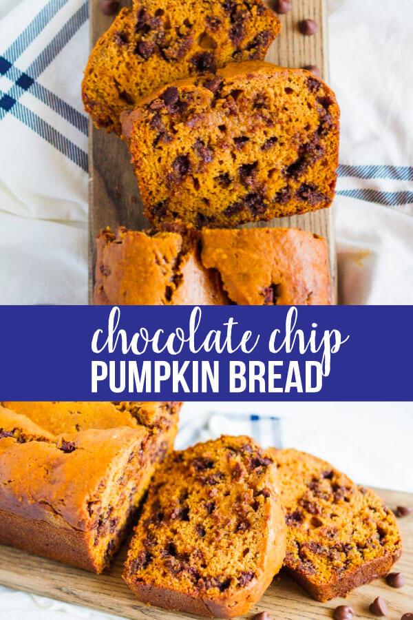 Chocolate Chip Pumpkin Bread- an easy quick bread recipe that is perfectly fall. www.thirtyhandmadedays.com