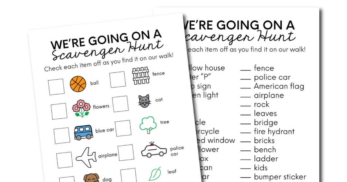 Scavenger Hunt Printables From Thirty Handmade Days