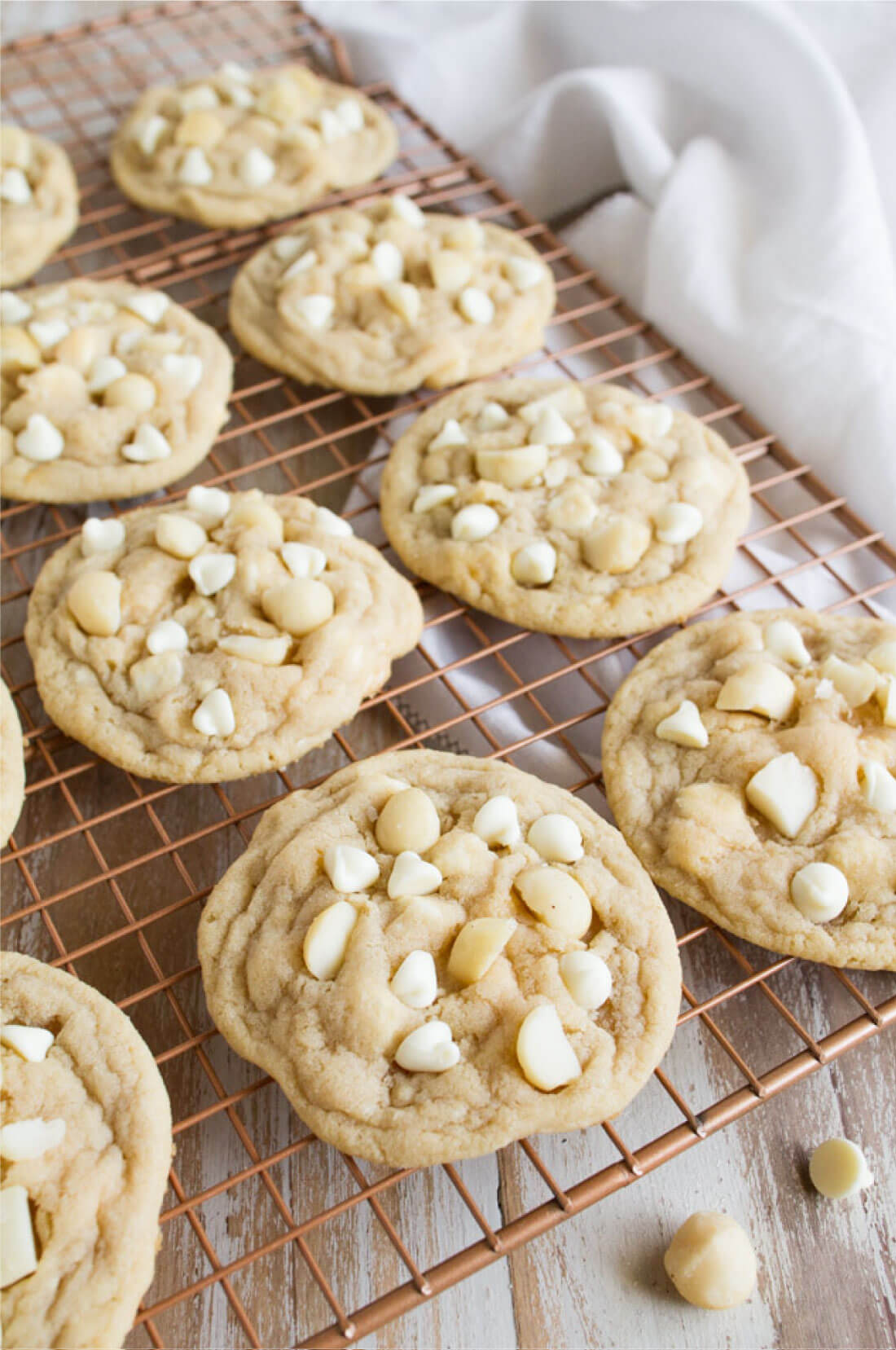 Whole rack of White Chocolate Macadamia Nut Cookies