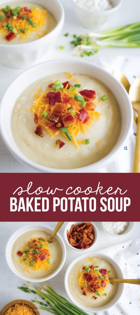 Slow Cooker Baked Potato Soup - perfect main dish recipe for a chilly day! www.thirtyhandmadedays.com