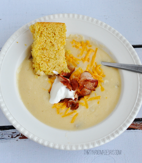 Baked Potato Soup and Cornbread