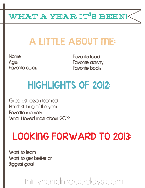 Download a copy of this New Year Resolutions 2013 Kids Printable.