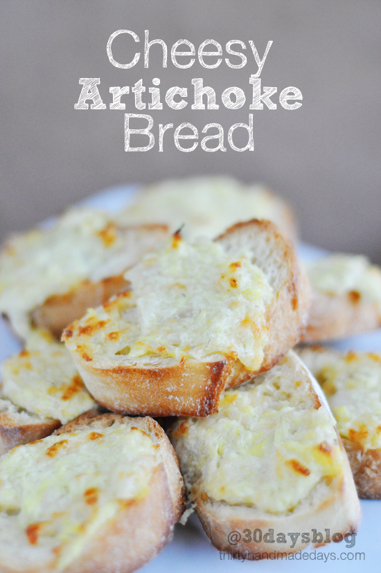 Cheesy Artichoke Bread- perfect for a SuperBowl party!