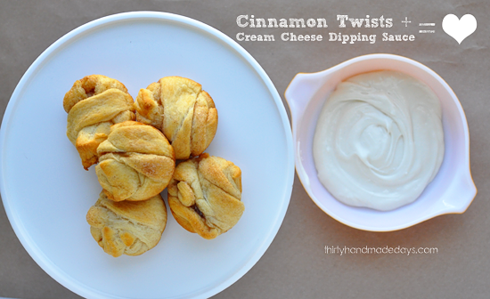 Cinnamon Twists with Cream Cheese Dipping Sauce