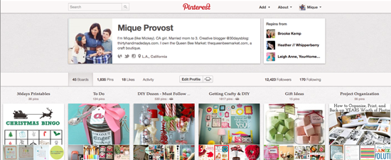 Link up your Pinterest Account