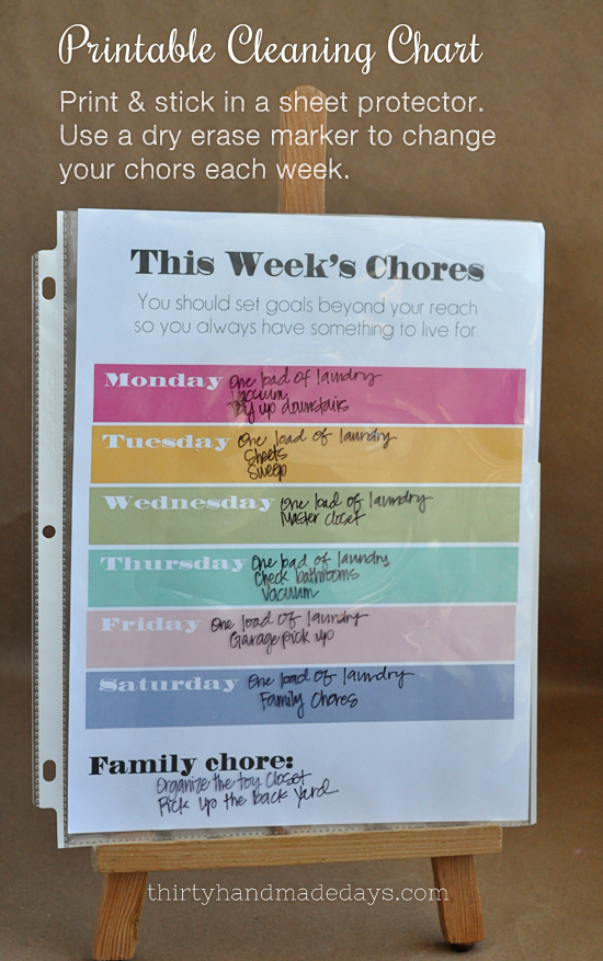 Printable chore chart to switch out weekly