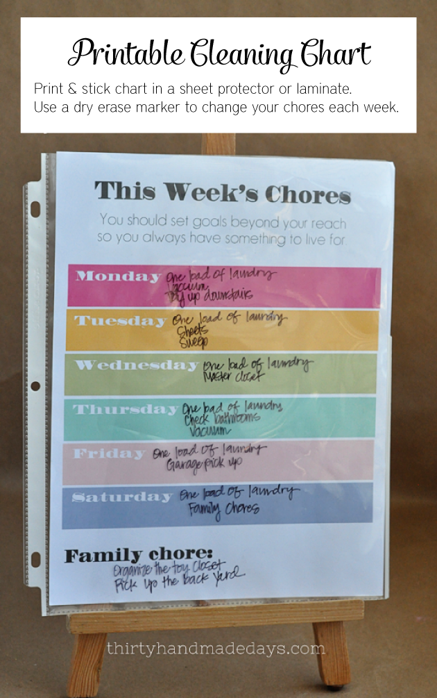 Printable Chore Chart- download, print and slip into  protector or laminate.  Use a dry erase marker to switch out weekly chores.