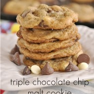 Triple Chocolate Chip Malt Cookies with Sea Salt
