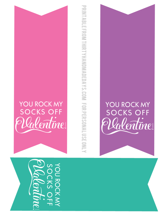 graphic about You Rock Valentine Printable named Valentines Concept: On your own Rock My Socks!