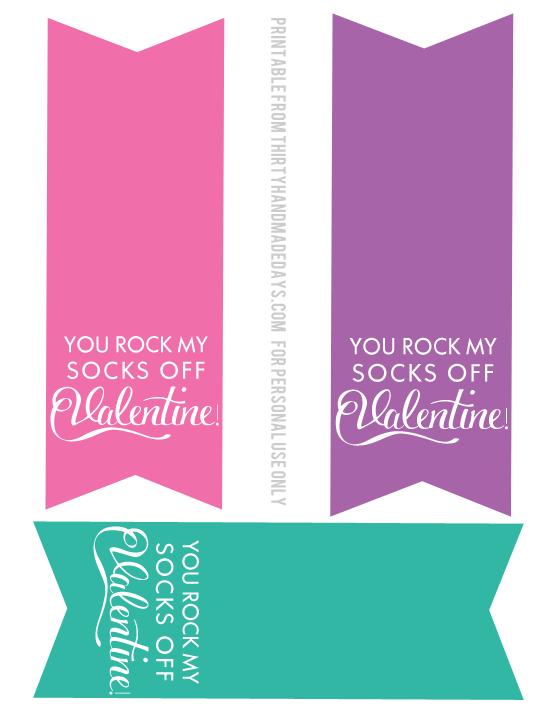 photo regarding You Rock Valentine Printable named Valentines Principle: On your own Rock My Socks!