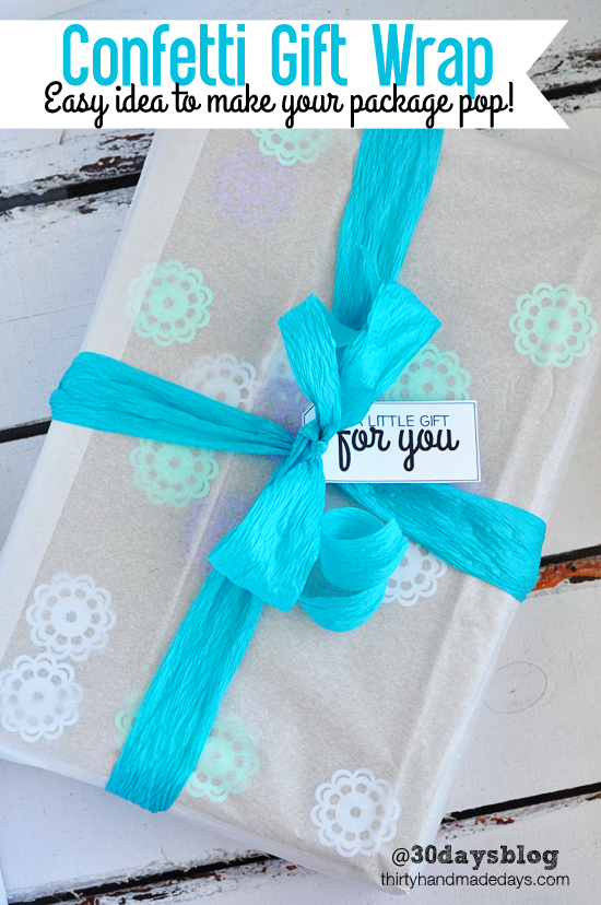 Confetti Gift Wrap from @30daysblog