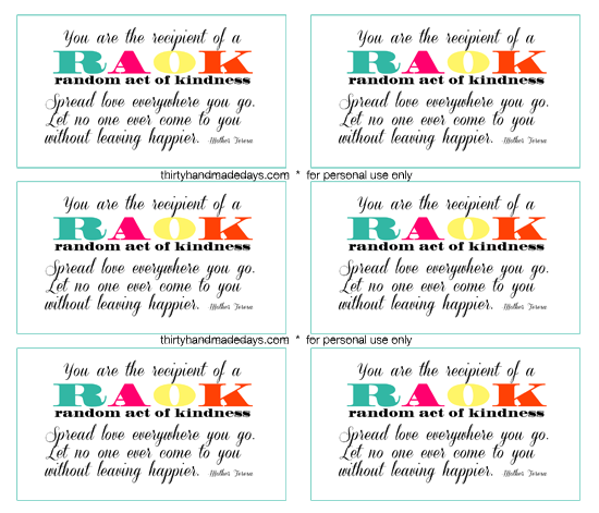image regarding Kindness Cards Printable identified as Random Functions of Kindess #loveforjj