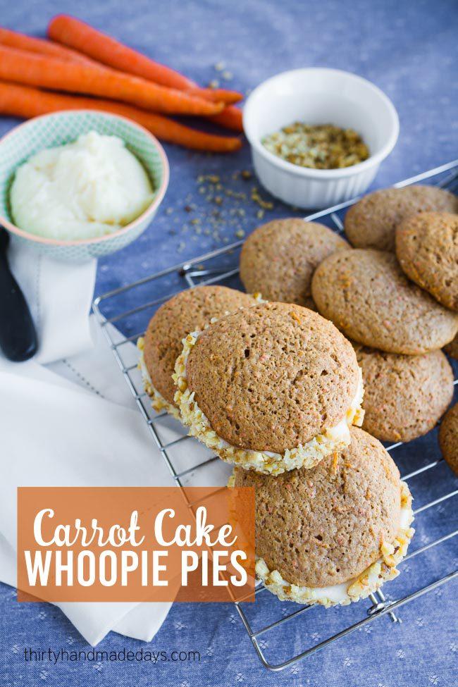 A take on traditional Carrot Cake - make whoopie pies instead! www.thirtyhandmadedays.com