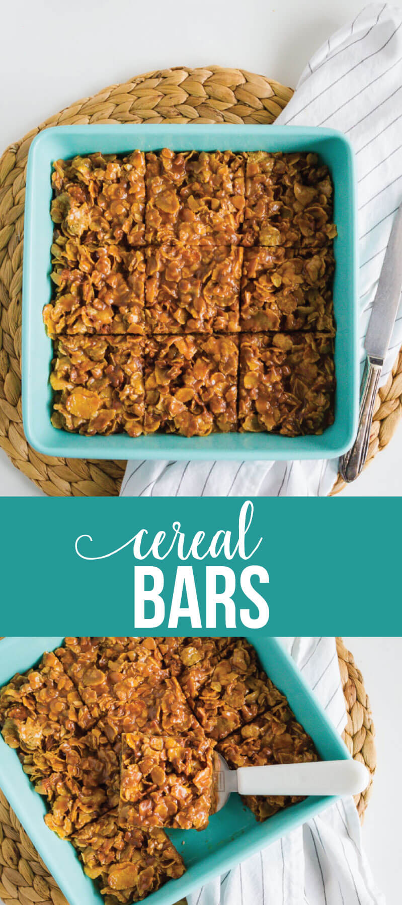 Easy and sweet cereal bar recipe- make for a dessert or for an after school snack. Your family will love this simple recipe! via www.thirtyhandmadedays.com