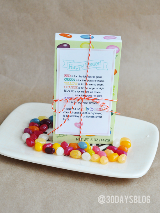 Printable Easter Jelly Beans Poem via www.thirtyhandmadedays.com