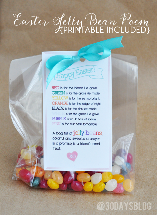 Easter treat printable easter jelly bean poem with printable from thirtyhandmadedays negle Images