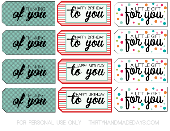 Gift Tags with Full Color