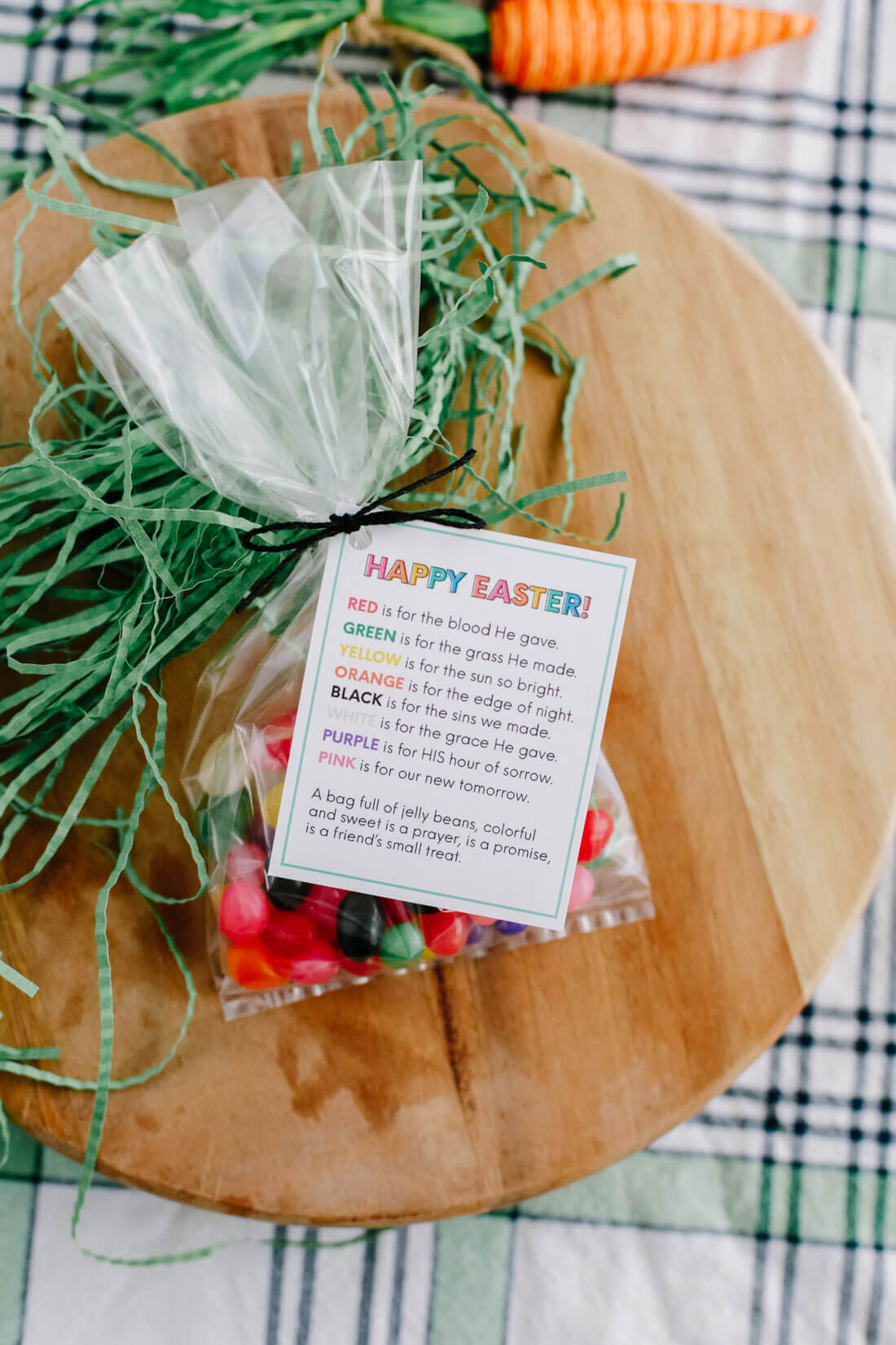 Easter treat jelly bean poem - wrapped in cellophane bag